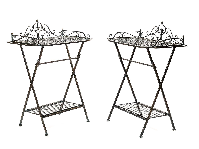2x Butlers´s tray Serviertisch Gartentisch Eisen Garten Klapptisch Tisch garden online bestellen