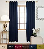 Navy Antique Brass Grommet Top Thermal Insulated Blackout Curtain 96 Inch Length Pair