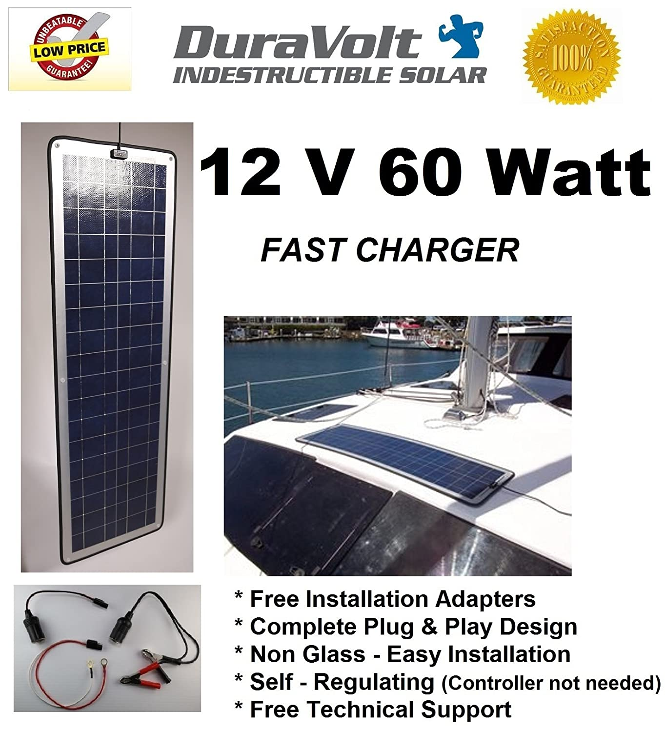 !! Solar Charger SALE for Dad's Day !! - 12 Volt solar charger - DuraVolt - 60.0 Watt 12V Solar Charger - Plug & Play - for Trolling Motors, Boats, Rv, Marine - Semi Flexible size: 49.6 100w 12v monocrystalline solar panel for 12v battery rv boat car home solar power