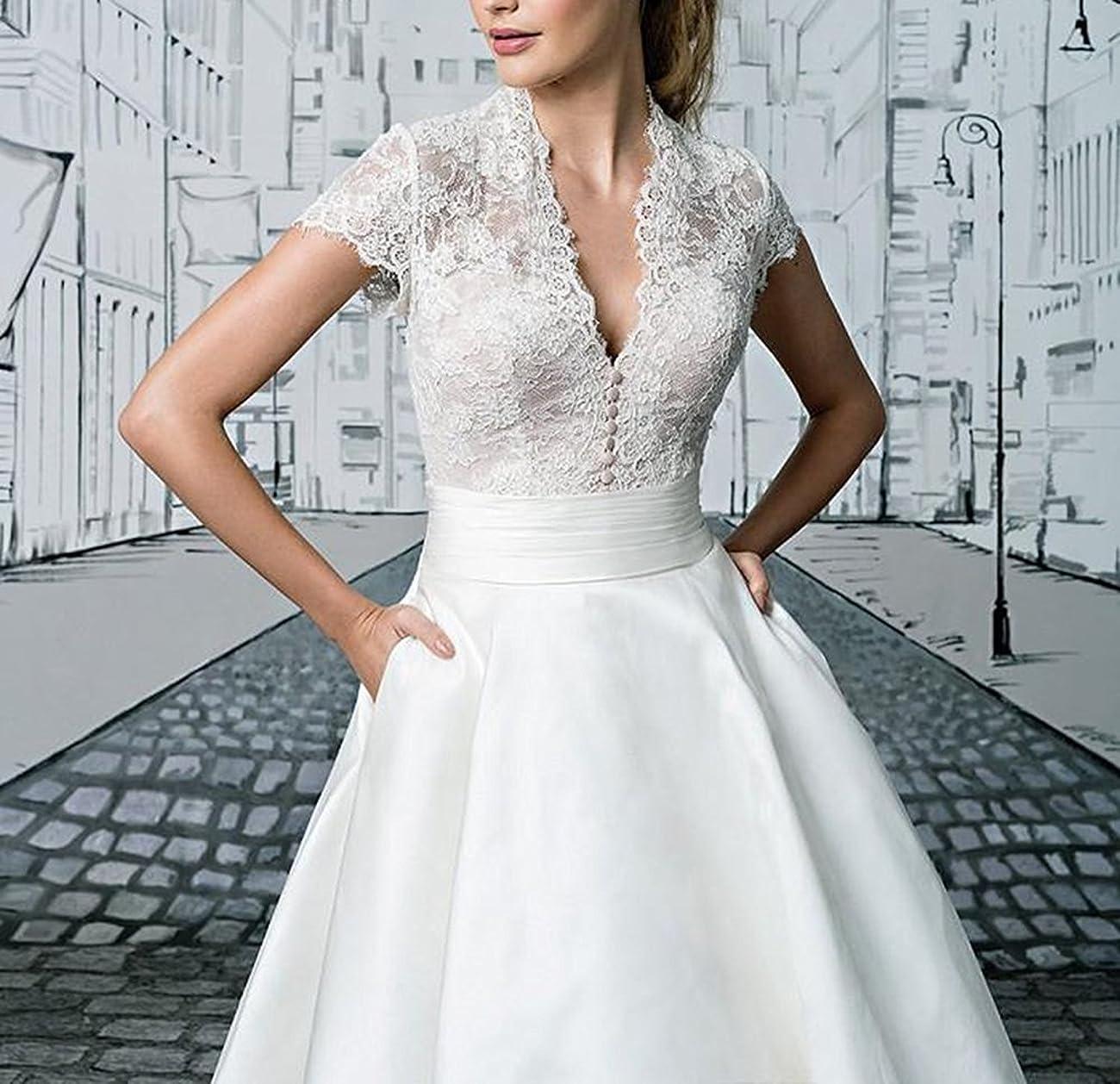 Fashionbride Women's Lace Tea Length A Line Vintage Wedding Dress Bridal Gown F364 2
