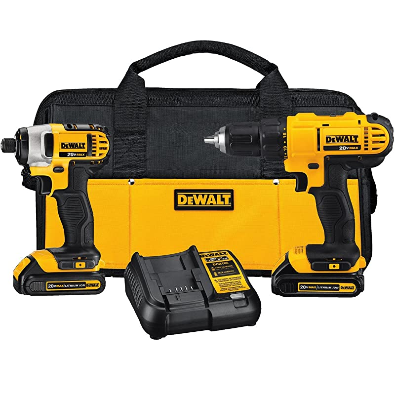 DEWALT DCK240C2 20v Lithium Drill Driver/Impact Combo Kit (1.3Ah) via Amazon