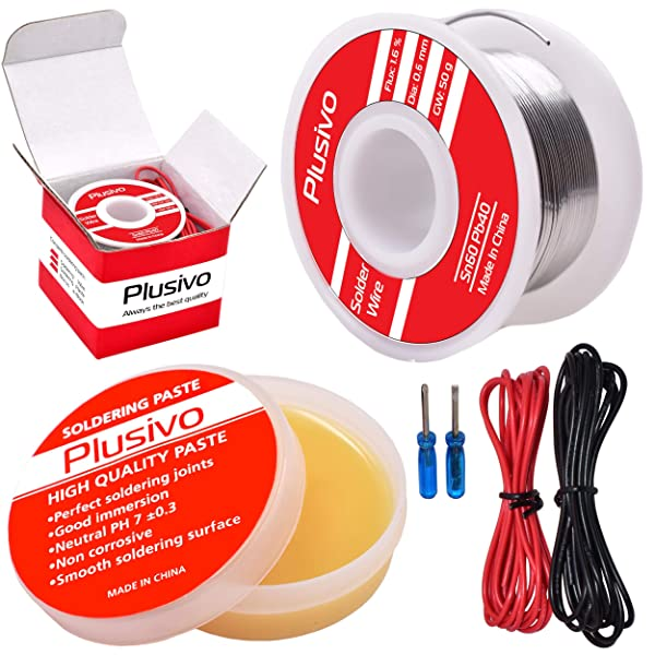Solder Wire and Rosin Paste Kit - 0.6mm Active Tin Lead Solder Wire and Rosin Paste Flux for PCB Soldering from Plusivo (Tamaño: 0.6mm)