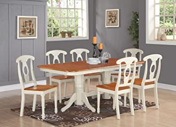 East West Furniture NAKE7-WHI-W 7-Piece Dining Table Set