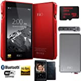 FiiO X5-III High Resolution Lossless Music Player (Red) w/ Portable Amplifier Bundle Includes, FiiO A5 Portable Headphone Amplifier (Titanium) + Sandisk Ultra 128GB MicroSDXC UHS-I Memory Card