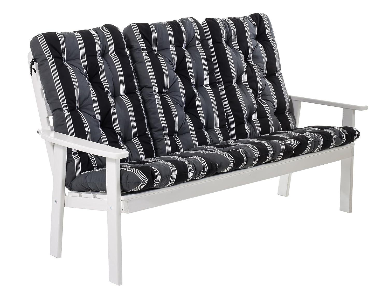 Ambientehome 90338 3-er Bank Gartenbank Holzbank Loungebank Massivholz Hanko Maxi, weiß mit Kissen, schwarz / grau günstig bestellen