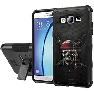 Galaxy [On5] Armor Case [NakedShield] [Black/Black] Urban Shockproof Defender [Kick Stand] - [Pirate Skull] for Samsung Galaxy [On5]