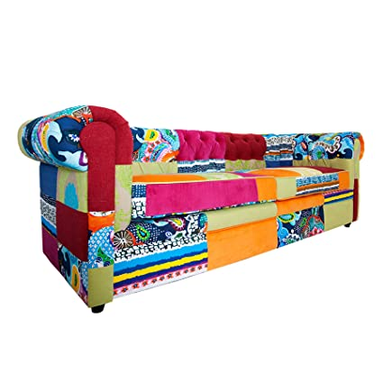 Invicta Interior 35018 Chesterfield Sofa Patchwork, bunt