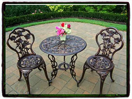 Patio Outdoor Furniture Rose Design Cast Aluminum Bistro Set Antique Copper Wicker Garden Piece Table Dining Chairs New Chair Pool Package All Weather Lawn Home Kitchen Modern Guarantee - It Comes ONLY Along with Our Company's EBOOK