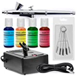 PointZero Cake Airbrush Decorating Kit - Airbrush, Compressor, and 4 Chefmaster Colors