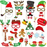 dizaul 2019 Christmas Photo Booth Props - 42 Pack DIY Xmas Photography Decorations - Funny Selfie and Photo Prop Pack for Christmas and New Year Party - Winter Holidays Supplies for Kids and Adults (Color: Red, Tamaño: 42)