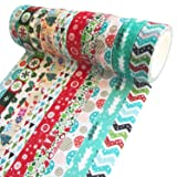 Benvo Christmas Washi Tape 10 Rolls Premium Xmas Tape Collection for Holiday Decorations, Gifts Wrapping and Present, Scrapbooking Arts Crafts Office Party Supplies 33 Ft Long of Each Tape (Color: Patterns D, Tamaño: Christmas Patterns)