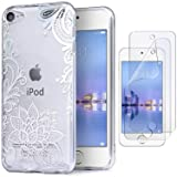 IDWELL iPod Case for iPod Touch 7 Touch 6 Touch 5,Soft Bumper,TPU Clear Case,Slim Lightweight Colorful Shiny Flexible Glossy Cover for Apple iPod Touch 7G 2019 Released/6G 2015 /5G, Flower Clear (Color: Flower Clear)