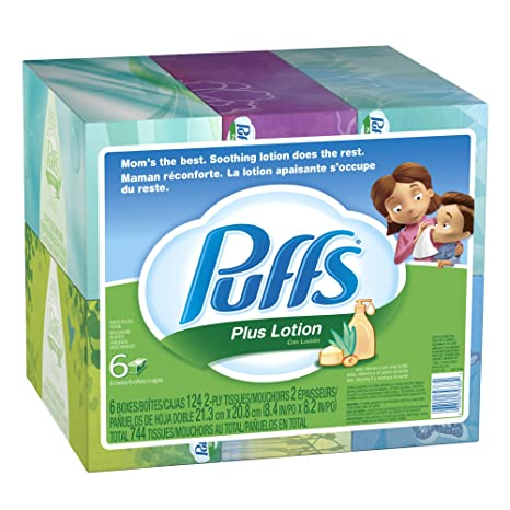 Puffs Plus Lotion Facial Tissues, 6 Family Boxes (124 Tissues Per Box) (2 for $11.69)