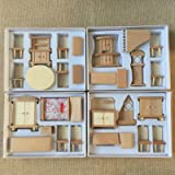 4 Boxes Set Dollhouse Miniature Unpainted Wooden Furniture Suite 1/24 Scale Model by worldpeace09 (Color: Burlywood)