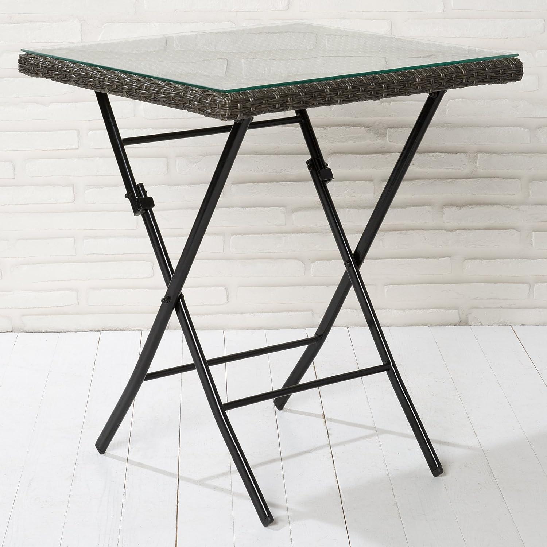 Klapptisch Gartentisch Poly Rattan grau mix mit Klarglasplatte Tisch klappbar
