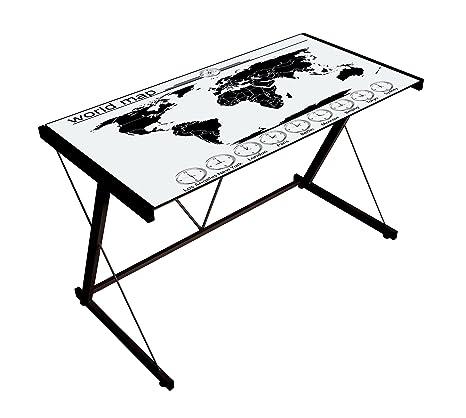 Bizzotto World Bureau, métal/verre trempé, noir, 120x 60x 75cm
