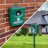 Soeland Ultrasonic Animal Repellent, Solar Powered Waterproof Cat Repellent, Motion Activated with Flash LED Light, Animal Control for Birds, Raccoons, Rats, Cats and Dogs