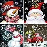 4 Pack 5D Full Drill Christmas Diamond Painting Kit,KISSBUTY DIY Diamond Rhinestone Painting Kits for Adults and Beginner Diamond Arts Craft, 9.8 X 9.8 Inch (Christmas Diamond Paintings) (Color: Christmas Diamond Paintings)