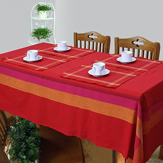 Cotton Woven Table Cover, Runner and Placemat Set for 6 Seater Table - Set of 8 - Red at amazon
