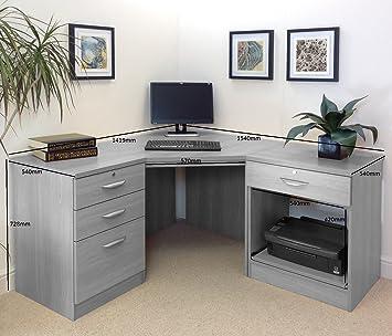 Home Office Furniture UK Modern Living Room Corner Desk Filing Drawer Cabinet Set, Wood, English Oak, Wood Grain Profile, 4-Piece
