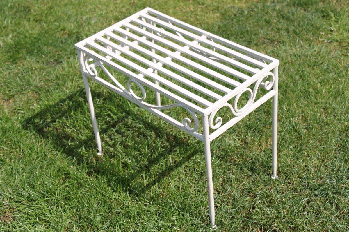 Beistelltisch oder Untergestell aus Metall, im Versailles-Stil, in antikem Weiß (kleine Größe) - Ideal für Haus und Garten