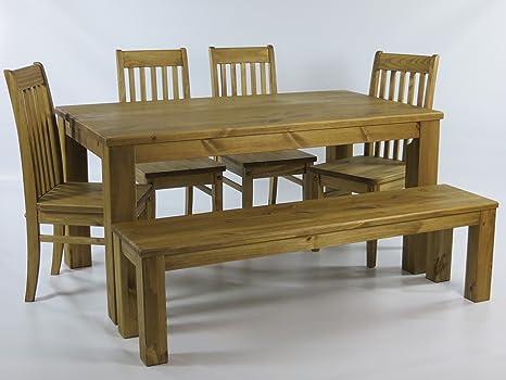 Sitzgruppe Garnitur mit Esstisch 140x90cm + 4 Stuhle Klassic + 1 Bank 140x38cm Pinie Massivholz, geölt und gewachst, Farbton Brasil