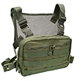 abcGoodefg Tactical Chest Rig, Molle Radio Chest Harness Holder Holster Vest for Two Way Radio Walkie Talkies (Green) (Color: Green)