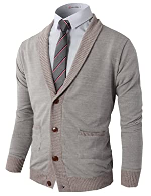H2H Mens Basic Shawl Collar Knitted Cardigan Sweaters with Ribbing Edge GRAY US L/Asia XL (CMOCAL07)