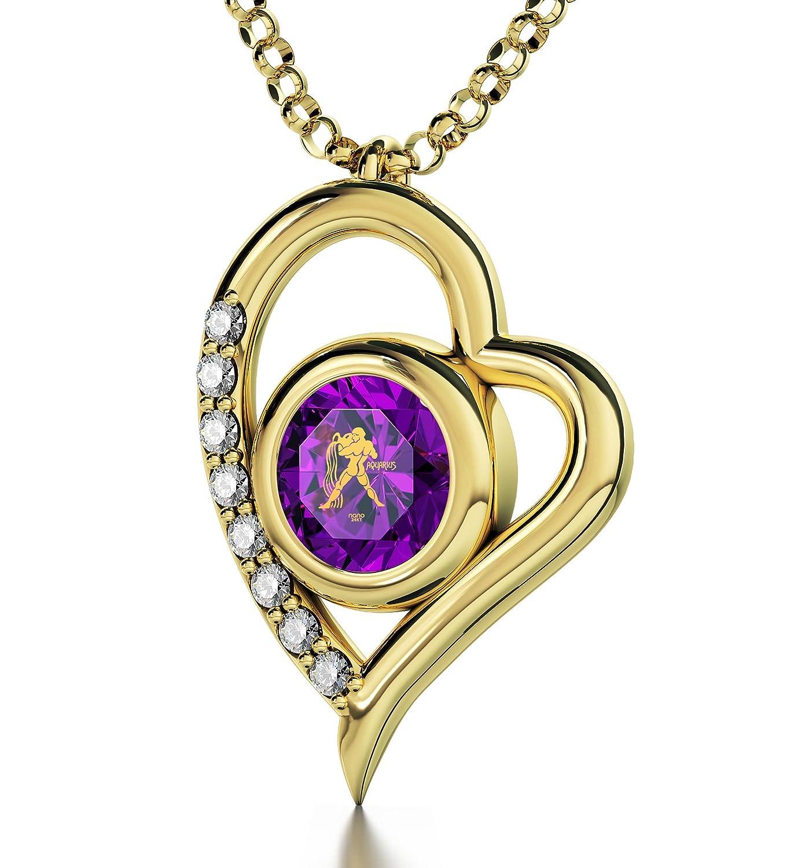 Sternzeichen-Anhänger -Vergoldete Wassermann-Halskette mit kristallenem Zirkonia – Herz-Schmuck mit Astrozeichen-Beschriftung in 24k Gold – Einzigartiges Geburtstagsgeschenk für SIE als Weihnachtsgeschenk kaufen