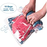 10 Compression Bags for Travel (Medium to Large) - Reusable Space Saver Vacuum Bags for Clothes - No Pump Needed - Waterproof - Double Zipper - Packin