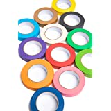 12 Rolls of Colored Masking Tape, 1 in x 60 yds; Great for DIY Label Making, Arts & Crafts, Home & Office. Includes Blue, Black, Yellow, Purple, White and Many More. Vibrant Colors (Color: Black, Brown, Orange, Yellow, White, Teal, Navy, Purple, Red, Pink, Green, Lime)