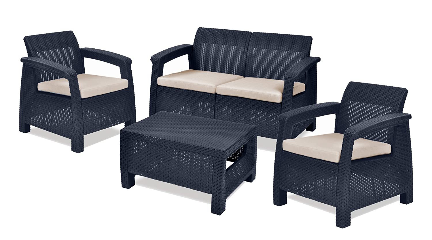 4 Pcs Garden Furniture Set Keter Corfu With Table Plastic Rattan Outdoor Patio Ebay