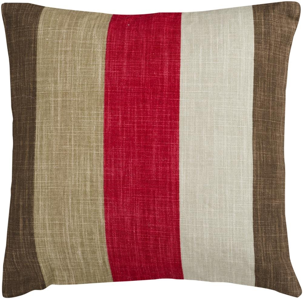 Surya JS-012 Hand Crafted 80% Viscose / 20% Linen Red 18 x 18 Striped Decorative Pillow