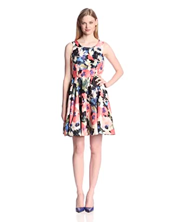Gabby Skye Women's Sleeveless Floral Print Fit and Flare Dress: Amazon