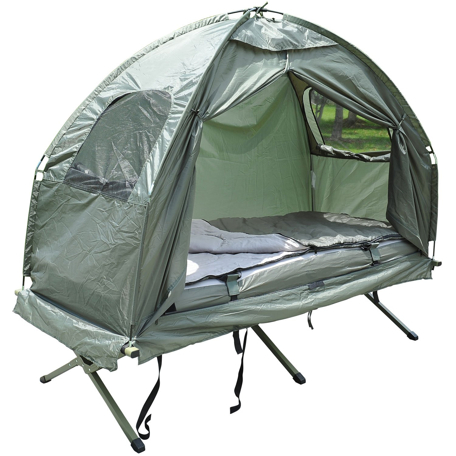 outsunny compact portable pop up tent camping cot with air. Black Bedroom Furniture Sets. Home Design Ideas