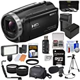 Sony Handycam HDR-CX675 32GB Wi-Fi HD Video Camera Camcorder with 64GB Card + Battery & Charger + Case + Tripod + LED Light + Mic + Tele/Wide Lens Kit (Color: Clear)