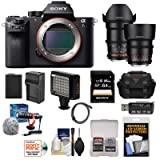Sony Alpha A7S II 4K Wi-Fi Digital Camera Body with 35mm & 85mm T/1.5 Cine Lenses + 64GB Card + Battery & Charger + Case + Flash + Kit (Color: Black)