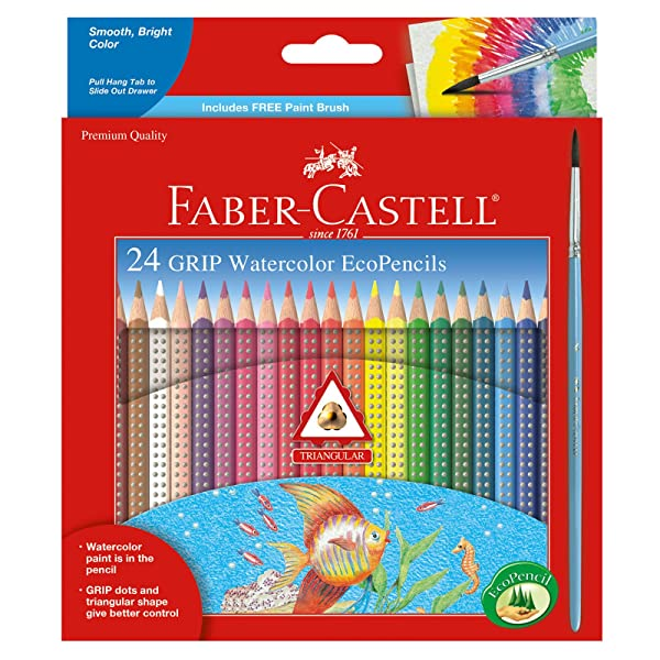 Faber-Castell - GRIP Watercolor EcoPencils - Premium Art Supplies For Kids (24 Count) (Color: Multi, Tamaño: 24Count)