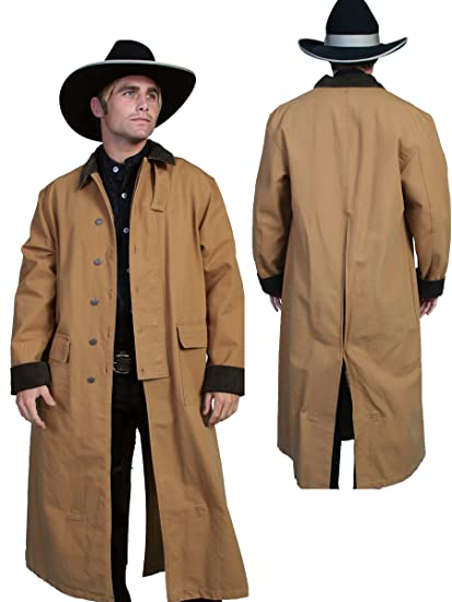 Steampunk Men's Coats Long Canvas Duster  AT vintagedancer.com