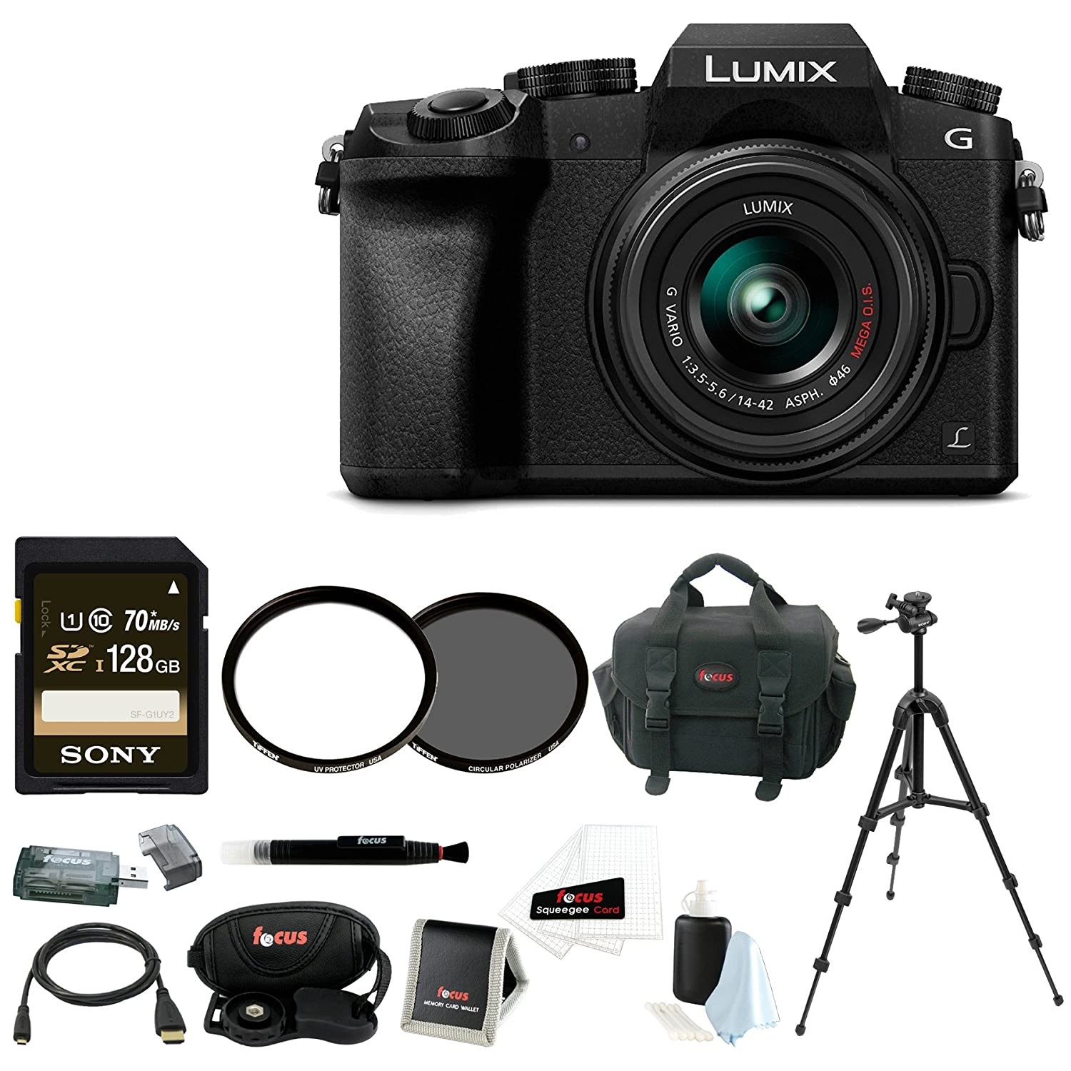 Panasonic LUMIX G7 Camera with 14-42mm Lens (Black) + Sony 128GB SDXC + Tiffen 42MM UV & CP Filters + Accessory Bag