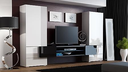 """BMF """"Torro"""" Wohnwand TV-Unterschrank TV-Ständer mit LEDs, Glas-Regal Hochglanz-Optik weiß / schwarz"""