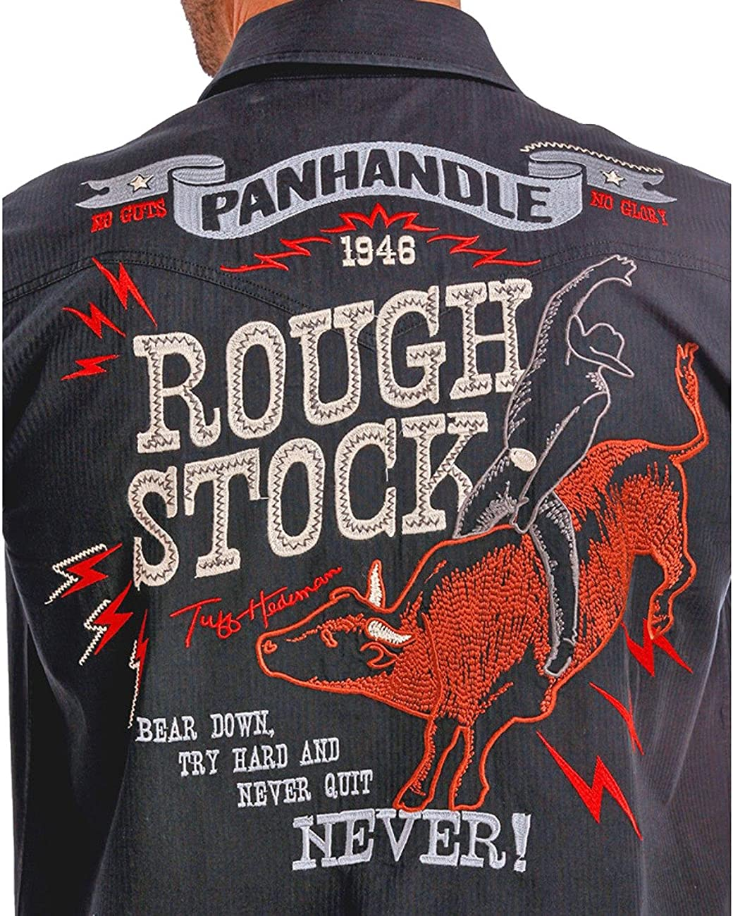 Panhandle Slim Men's Rough Stock By Vintage Bull Rider Logo Western Shirt - R0f9267-01 1