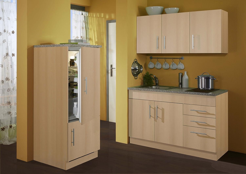 Held Möbel 907.6510 Single-Küche 180 mit 2-er Glaskeramikkochfeld und Kühlschrank mit Gefrierfach, buche