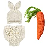 Newborn Photography Props Easter Bunny Rabbit Costume Crochet Knit Outfits 0 to 6 Months (Beige, 0-3) (Color: Beige, Tamaño: 0-3 Months)