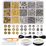 EuTengHao 607Pcs Spacer Beads 15 Style Metal Jewelry Bead Charm Spacers Kit for Jewelry Making Bracelets Necklace Accessories Pendants Tool Kit (Gold, Bronze, Dull Silver and Bright Silver,4 Colors) (Color: Gold, Bronze, Dull Silver and Bright Silver)