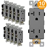 ENERLITES Industrial Grade Decorator Outlet, 20A 125V, Tamper-Resistant Duplex Receptacle, Self-Grounding, 5-20R, 2-Pole, 3-Wire Grounding, UL Listed, 63200-TR, Gray (10 Pack)