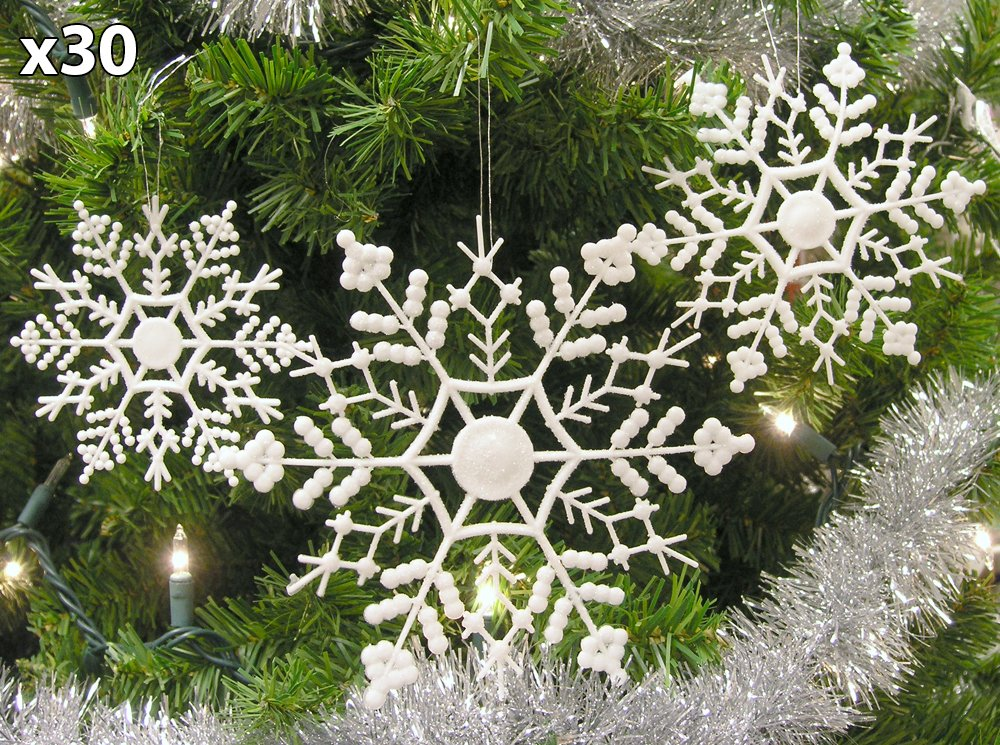 Set of 60 Assorted Snowflake Christmas Ornaments Winter Wedding Favor Birthday Party Theme Decoration for Girls - Iridescent White Glitter - 4