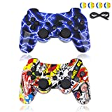 BRHE PS3 Controller Wireless Bluetooth Gamepad PS3 Games Remote Control Sixaxis Vibration Joystick Compatible with Playstation 3 with USB Charger Cable New Upgrade Version (Blue&Graffiti) (Color: Blue&Graffiti)