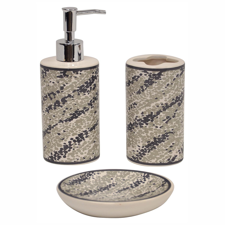 3pc bathroom set toothbrush holder soap dish dispenser for Bathroom sink accessories sets