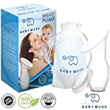 Manual Breast Pump - 100% Natural Silicone - Portable with FREE Carry Bag + Milk Saver Lid - Perfect for Busy Breastfeeding Moms on the Go